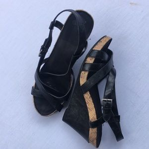Shoes - Black wedge sandal size 10W